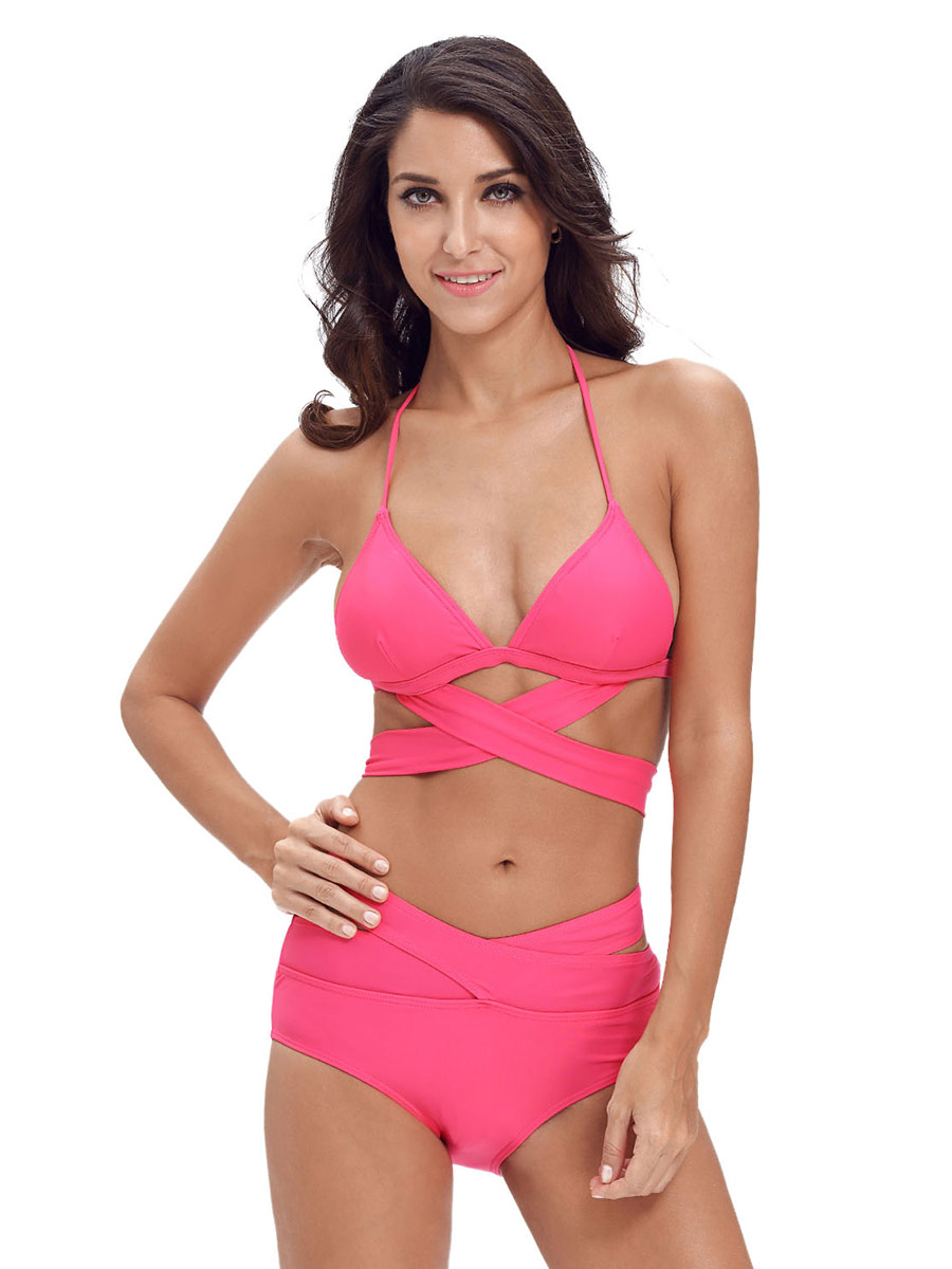 Crossed & Cut Out Halter Neckline Padded and High-waisted Ladies Bikini Swimsuit