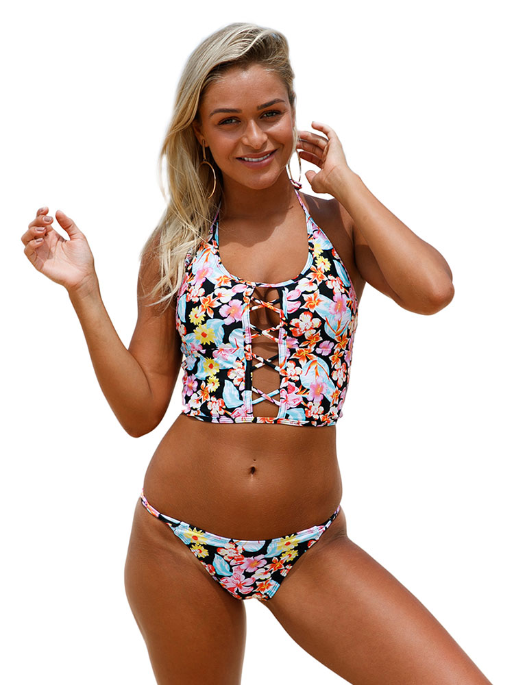 Sexy Cut-out Lace-up Detail Floral Printing Cropped Halter-neck Low-rise Bikinis