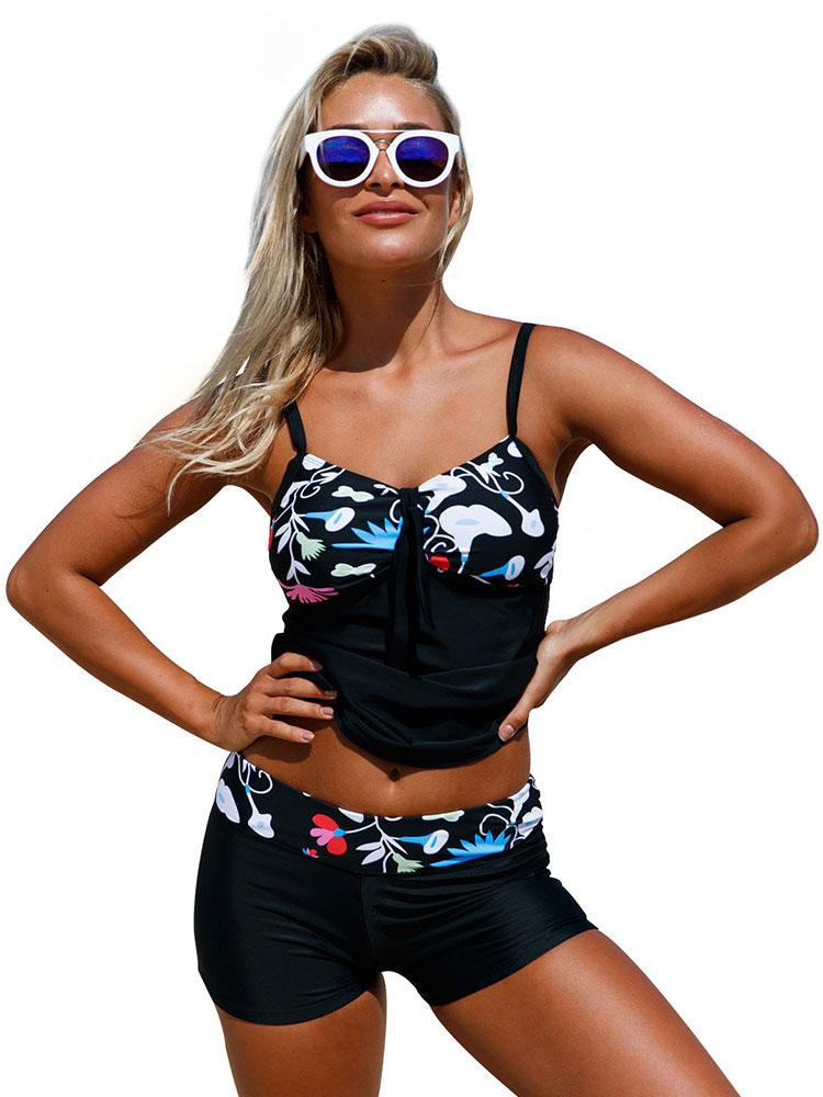 Floral Printed Adjustable Shoulder Straps Padded with Ribbon Tankini Shorts Set