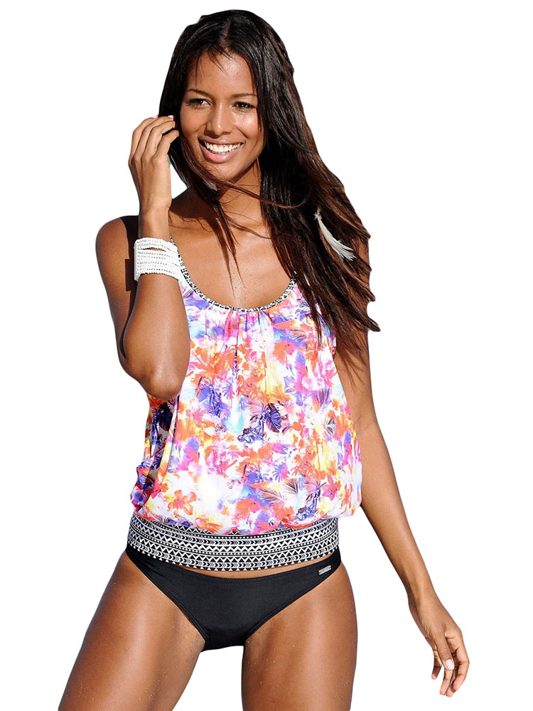 Blouson Styled Ethnic Printing Low-waisted Bra Padding Racerback Tankini Swimsuit
