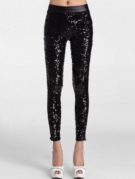 Slim Glittering Sporty Sparkly Front Black Sequin Leggings