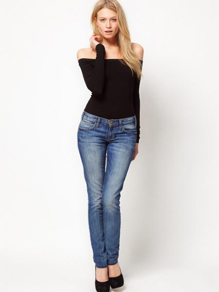 Plus Lady Black Full Sleeve Slash Neck Low Cut Off Shoulder Knit Skinny T Shirt Sales