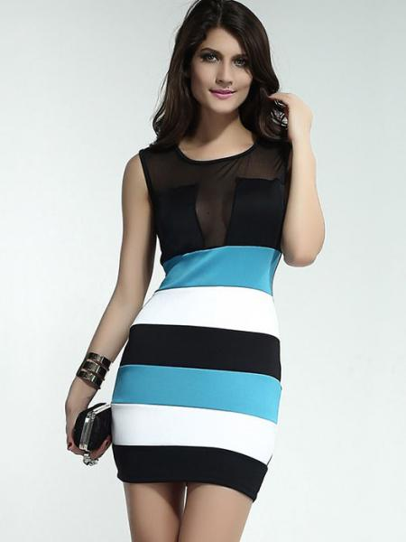 Polyester High Waist Sleeveless Hollow Out Sexy Mesh Skinny Tank Mini Dresses