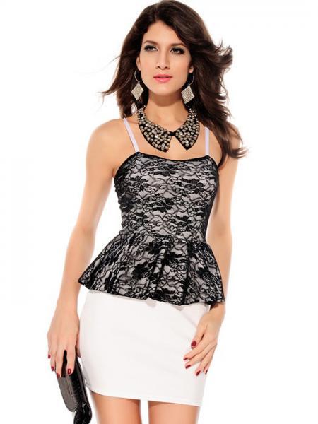 Elegant Bandeau Adjustable Straps Flowery Lace Top Corrugated Ruffles High Waist Peplum Mini Dresses