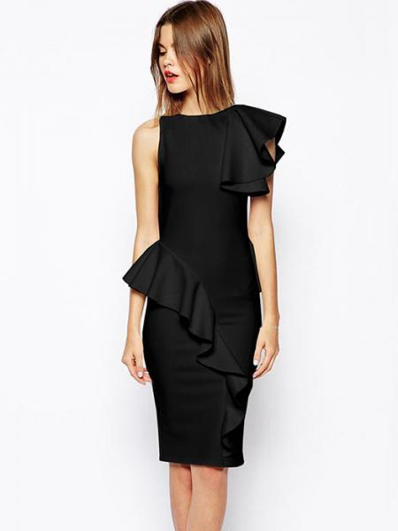 Black One Ruffled Shoulder High Waisted Sleeveless Irregular Ruffles Waist Peplum Midi Dresses