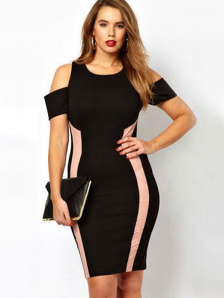 Plus Black High Waisted Round Neckline Short Sleeve Drop Shoulders Exclusive Bodycon Midi Dresses