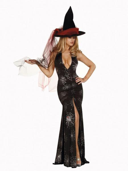 Vilanya 2 Pcs Black Deep-v Backless Halter Ruched Printing Witch Gown Halloween Costume Sexy