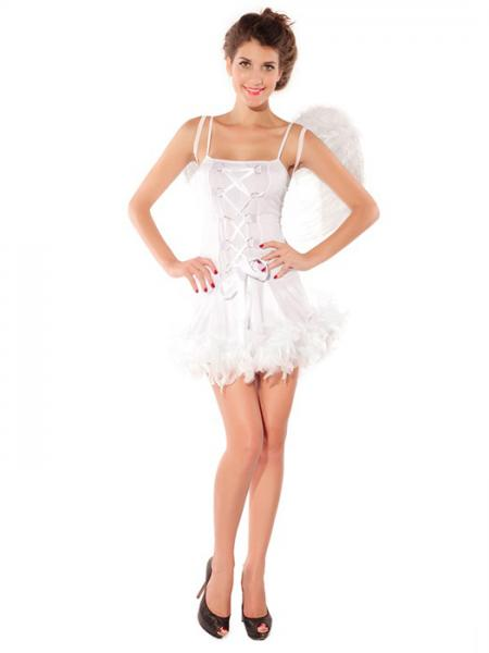 Vilanya 2 Pieces White Sleeveless Adult Sexy Angel Fairy Halloween Costumes For Women