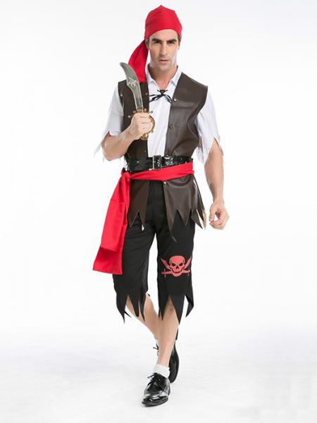 Vilanya 5 Pieces Short Sleeved Halloween Pirate Costume For Men Sale Online