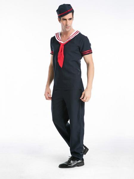 f0464e3375b Vilanya Short Sleeve Navy 3 Pieces Captain Sailor Halloween Mens Costumes  Online