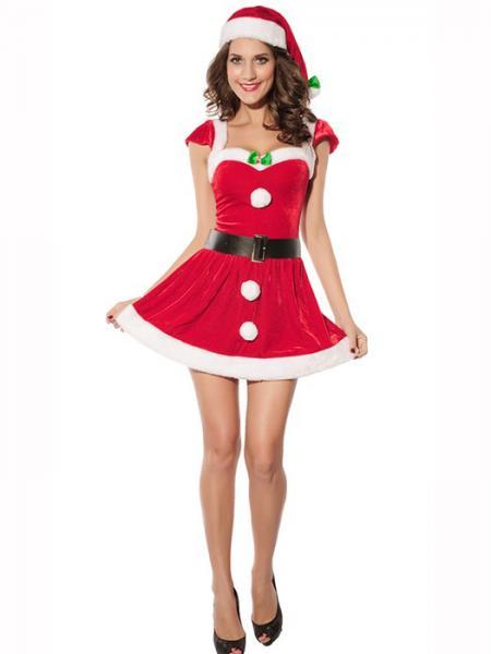 Cheap Vilanya 2 Pieces Short Sleeve Fluff Deck the Halls Mrs Santa Costume Online