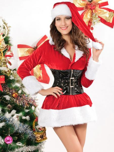 Three Pieces Long Sleeve Fluff Stretchy Velvet Santa Costume Women
