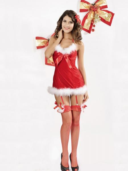 Vilanya One Piece Red V-neck Sleeveless Halter Fluff Women Adult Christmas Costumes
