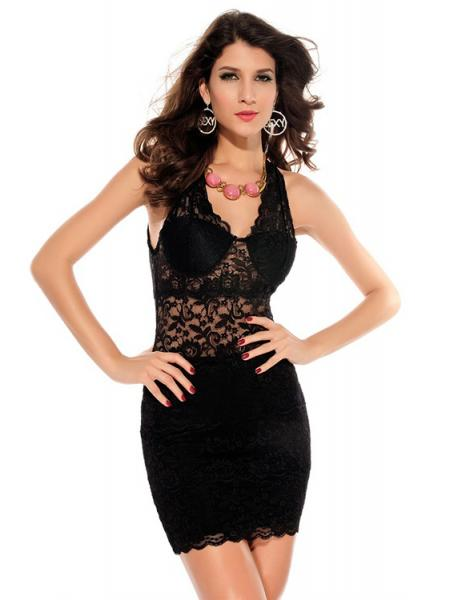 Trendy Sleeveless High Waist V Neck Sexy Purple Black Embroidery Lace Mini Bodycon Dress