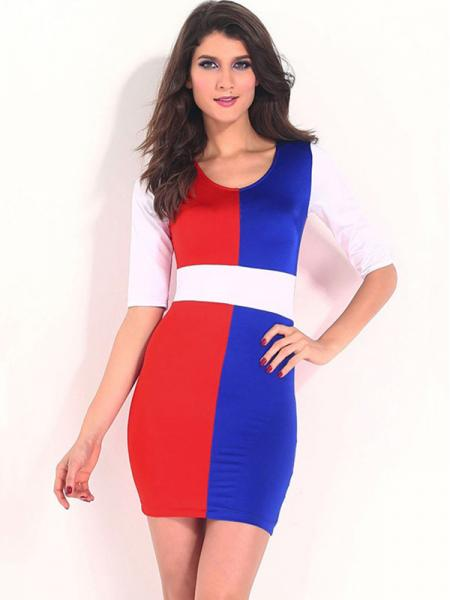 Half Sleeves Multicolor Block Tight Bodycon Dress Mini