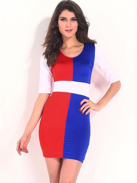 e953dd70a95b Lady V-neck Empire Half Sleeved Stylish Multicolor Block Tight Mini Bodycon  Dresses