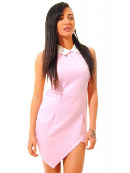 Fashionable Contrasting Collared Asymmetrical Hem Sleeveless Mini Bodycon Dresses Online