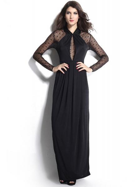High Waisted Long Mesh Sleeves Slit Hemline Draped Straight Black Maxi Dress for Women