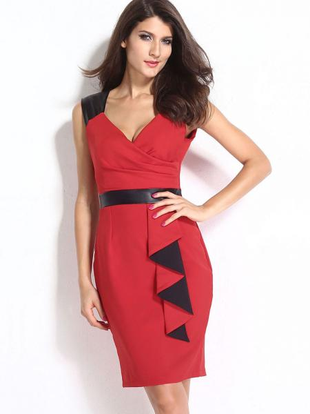 Empire Sleeveless Bodycon Midi Length Ladyies Dresses With Waterfall Details