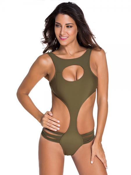 Sexy Lacing-up Back One Piece Monikini Swimswear with Hollow Out & Straps Detail