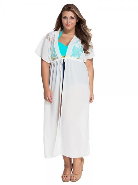 Lace High Waisted Short Kimono Sleeves Split Sildes Sheer Beach Coverups