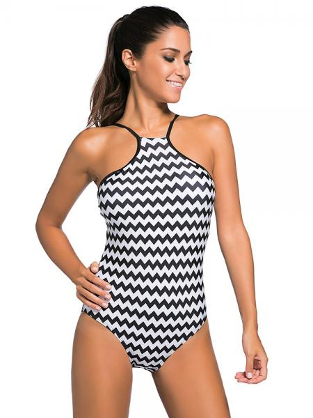 Monochrome Waved Printing Halter Highneck Padded Cutout Back 1PCS Swimsuit