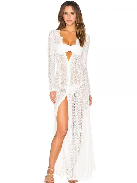 d3255ae36c211 Button-up Front Long Sleeved Boho Breeze Crochet Lace Maxi Length Beachwear