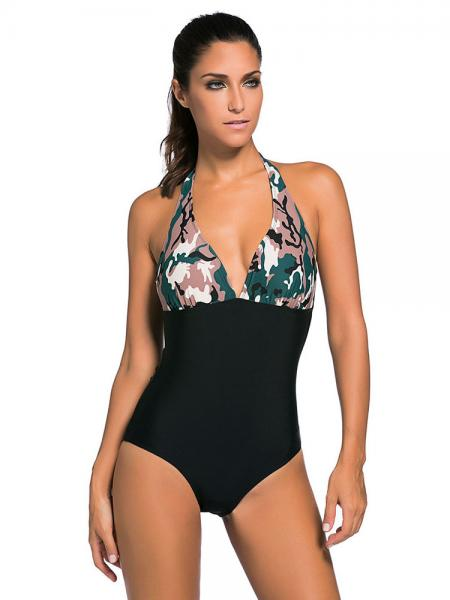 High Waisted Halter Style Camouflage print Padded One Piece Bathing Suit