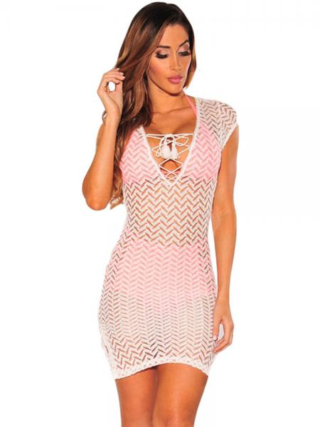 Short Cap Sleeves Lace-up V-neck Slit Hem Sheer Mini Lace Coverup Dress