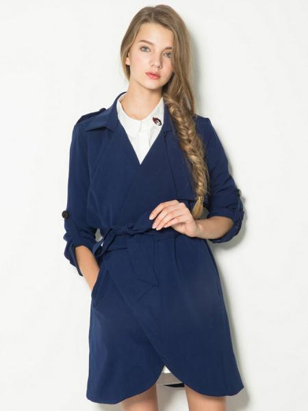 Long Sleeves Waterfall Front Wrap Trench Coat for Women with Waistband