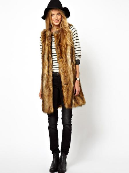Stylish Open Front Round Neckline Lining Fluffy Faux Fur Vest for Women