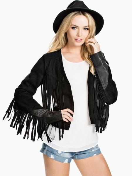 Chic PU Splicing Long Sleeves Short Women Faux Leather Jacket with Fringe