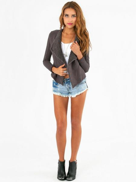 Long Sleeves Waterfall Open Front Fleece Lining Suede Jackets for Women