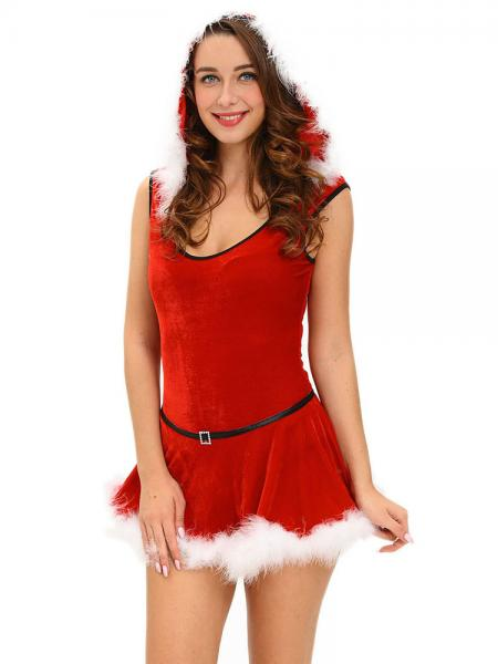 2 Pieces Velvet Sleeveless Hooded Jumpsuit & Skirt Christmas Costume Set