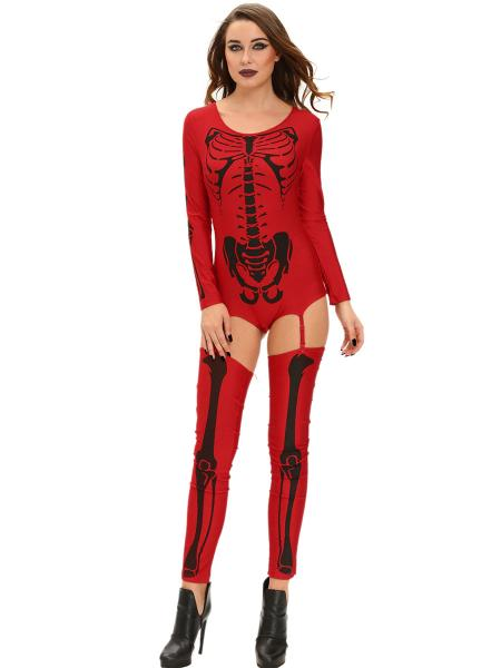 3 PCS Long Sleeves Bad To The Bone Halloween Skeleton Costumes for Women