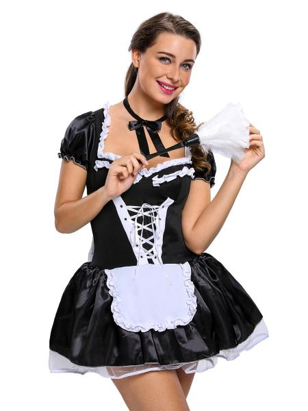 3 Pieces Short Sleeves Layered Late Nite Bubble Maid Costumes Skirt