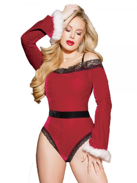 Off the Shoulder Long Sleeves Velvet Christmas Sexy Teddy Costumes