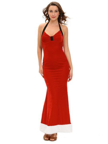 sleeveless halter backless sexy christmas maxi dresses for women