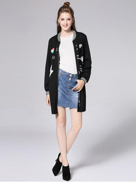 Casual Zipper Closure Long Sleeves Applique Stretchy Coat for Women