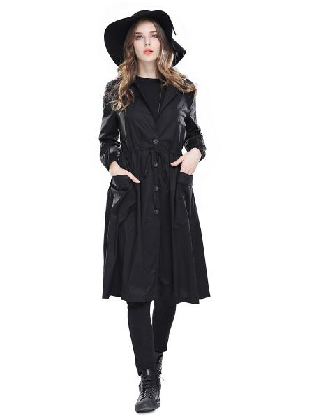 Single Breasted Long Sleeves Women Trench Coats with Drawstring & Pockets