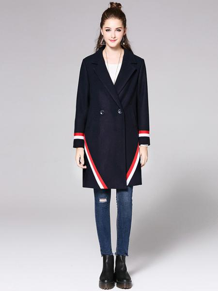 4543fb1eb6a6 Two Buttons Double Breasted Long Sleeve Womens Striped Long Wool Coats