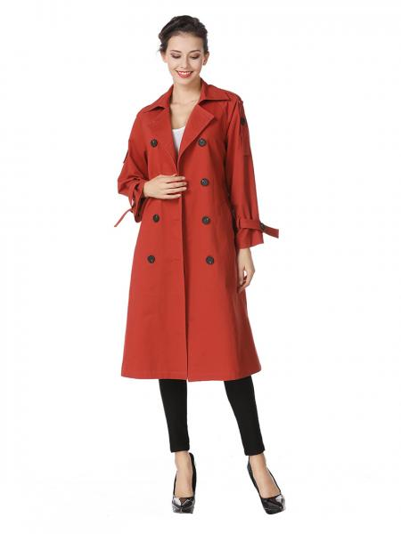 Double-breasted Lined & Layered Long Ladies Trench Coat for Spring