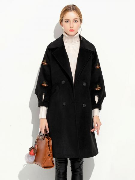 Double Breasted Three-quarter Sleeves Loose Fit Thick Women Long Pea Coat