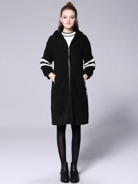Loose Fit Zipper Long Sleeves Striped Long Hooded Outerwear for Women