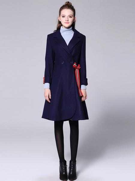 Morden Double Breated Long Sleeves Lined Women Long Dressy Wool Coat