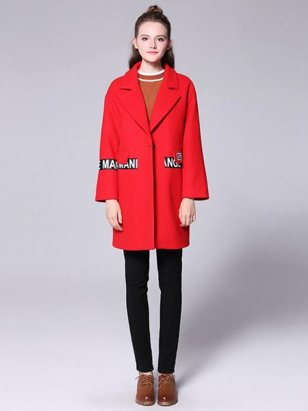 Single-breasted Long Sleeves Letter Printing Thick Wool Coat for Women