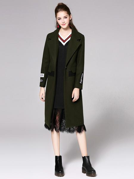 Single Button Long Sleeves Letter Printed Lined Womens Long Wool Coat