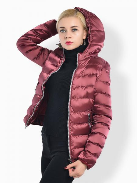 Two Way Zipper Long Sleeves Hooded Womens Slim Quilted Puffer Parka