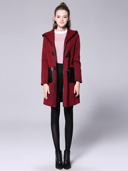 Winter Long Sleeves Thick Knitted Long Duffle Coat with Hood for Women