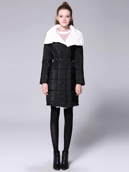 Zipper Long Sleeves Faux Fur Splicing Quilted Thick Long Women Parka Coat